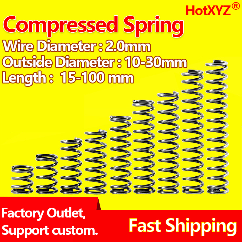 HotXYZ Cylidrical coil Compression Spring Rotor Return Compressed Spring Release Pressure Spring Steel 65Mn Wire Diameter 2.0mm