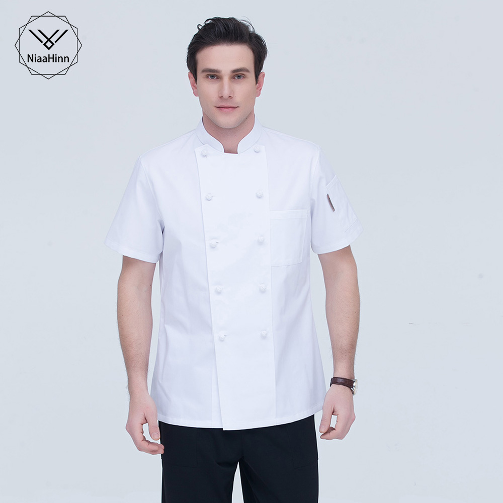 White Double Breasted Chef Jacket Summer Short Sleeve Chef Clothes Catering Workwear Men's Shirt Sushi Apparel Chef Cotton Top