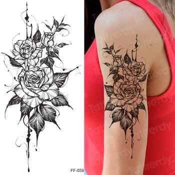 tattoo sticker women flower rose peony black tatouage temporaire femme temporary sleeve tattoo waterproof sexy body art fashion 4