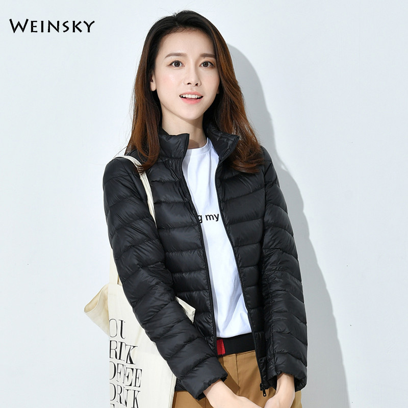 Winter Women Ultralight Thin Down Jacket White Duck Down Jackets Long Sleeve Warm Coat Parka Female Portable Outwear