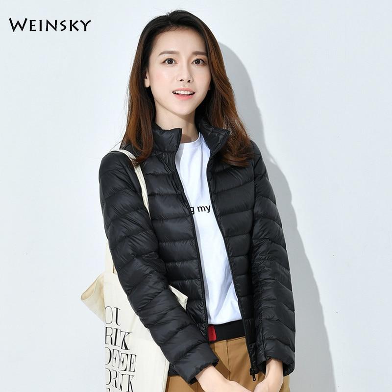 Winter Women Ultralight Thin Down Jacket White Duck Down Jackets Long Sleeve Warm Coat Parka Female Portable Outwear