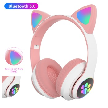 Flash Light Cute Cat Ears Bluetooth Wireless Headphone with Mic Can control LED Kid Girl Stereo Music Helmet Phone Headset Gift 1