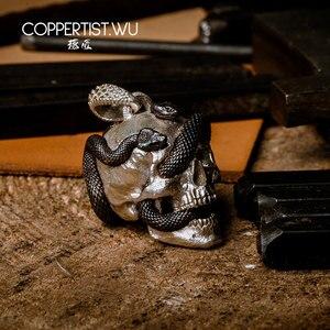 Image 2 - Coppertic. WU الجمجمة ثعبان قلادة قلادة S925 فضة مجوهرات طبعة محدودة الديكور القوطية هدايا للرجال 99 قطع فقط
