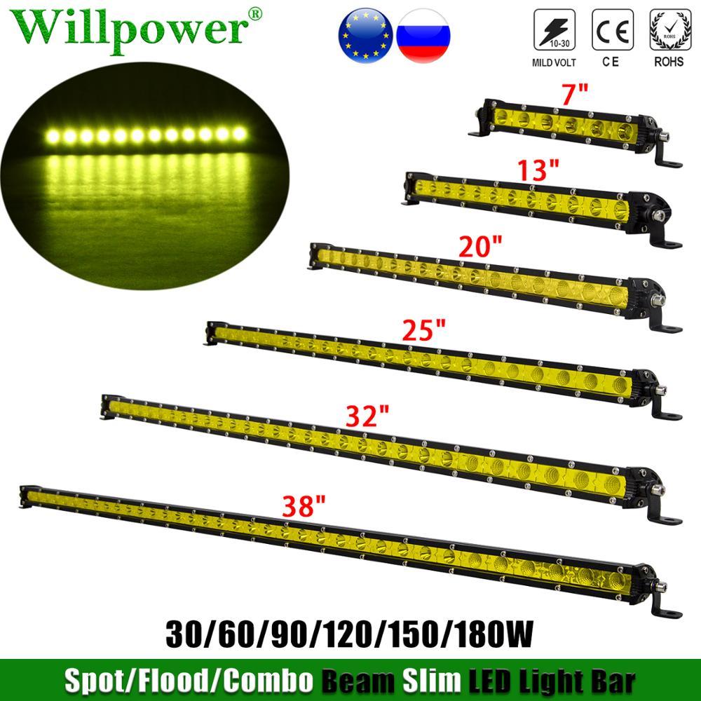 Single Row Slim 7 13 20 25 38 inch LED Work Light Bar SUV Car ATV UTV 4X4 4WD Offroad 30/60/90/120/150/180W Yellow Light LED Bar