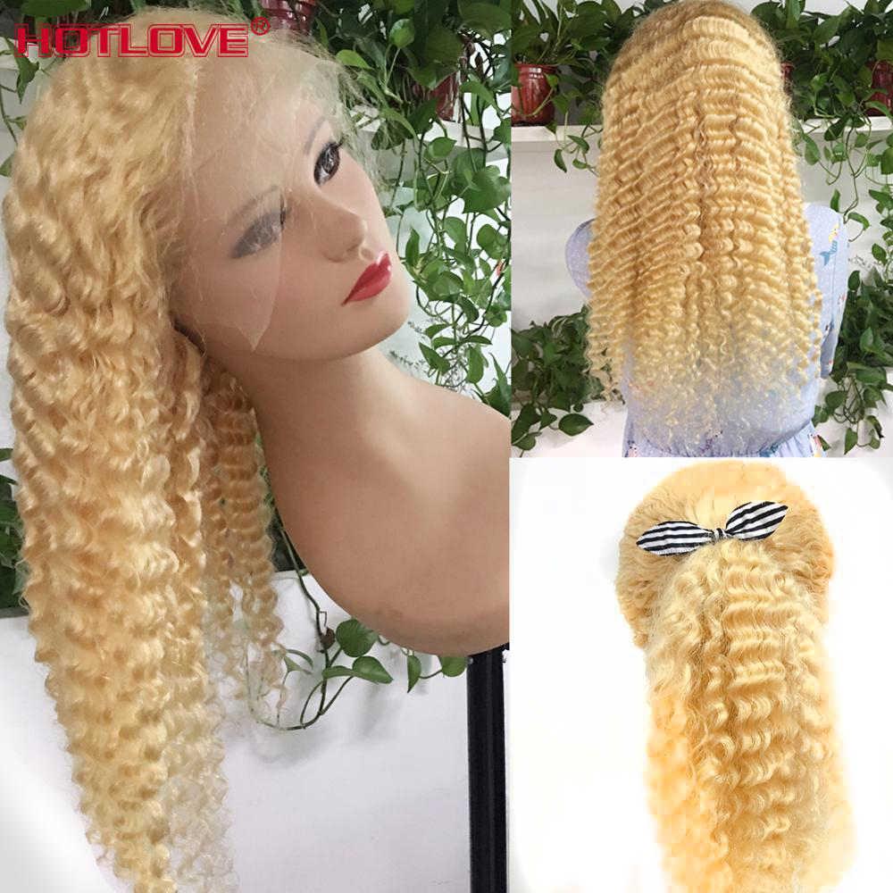 613 Blond Lijmloze Lace Front Menselijk Haar Pruiken Braziliaanse Losse Diepe Golf Pruiken 13X4 Lace Front Pruik Blond haar Pruiken Remy 150%