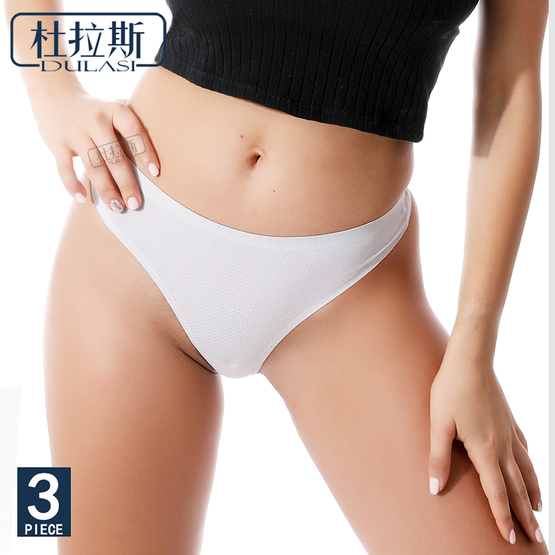 <font><b>Sexy</b></font> <font><b>Women</b></font> Briefs Seamless <font><b>Breathable</b></font> Mid-rise Thong Girl <font><b>Panties</b></font> DULASI 3 lot image