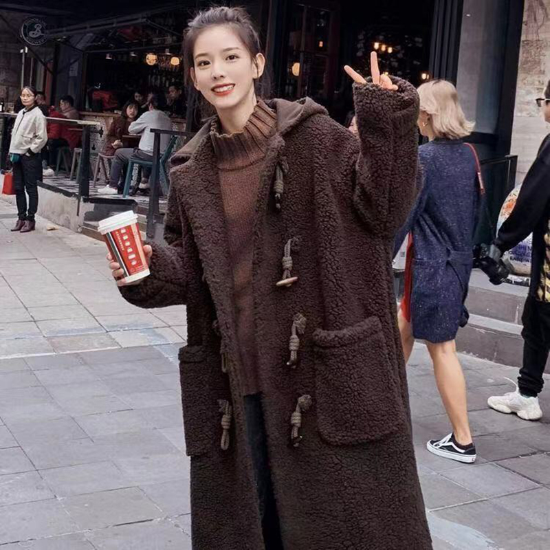 Faux Fur Coat Women 2019 Autumn Winter Casual Warm Horn Button Furry Fur Jacket Female Plush Overcoat Pocket Winter Coat Women