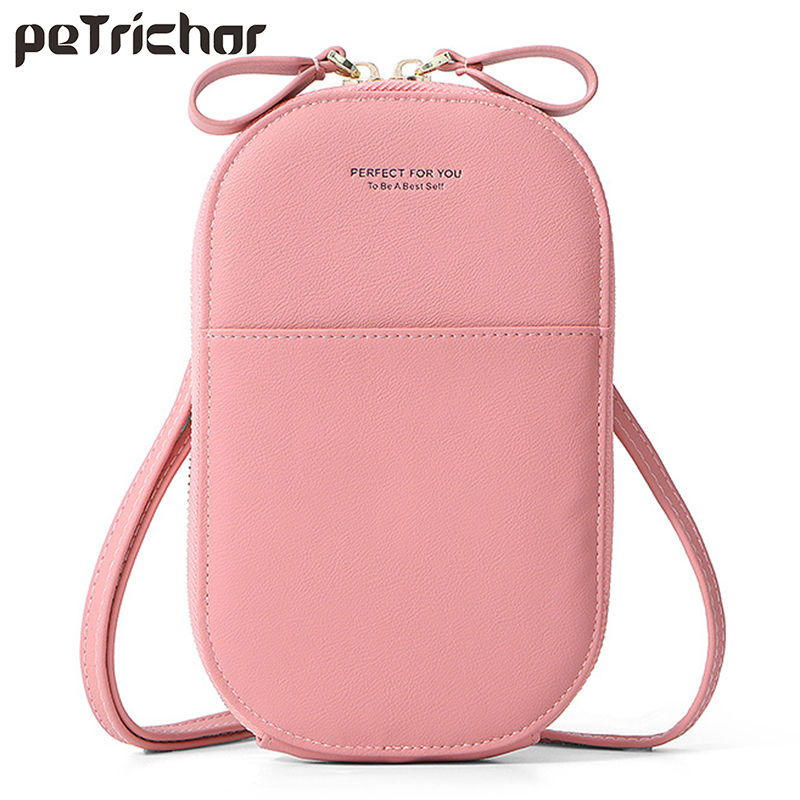 Kawaii Cell Phone Pocket Mini Crossbody Shoulder Bags For Women PU Leather Coin Purse Ladies Sweet Handbags Female Messenger Bag