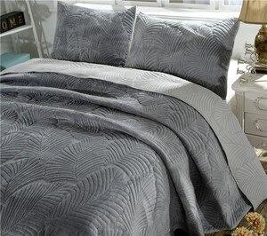 Image 3 - 豪華な綿キルトセット 3 個ヤシの葉刺繍キルトのベッドカバーベッドカバーシーツ枕カバーセットキングサイズ