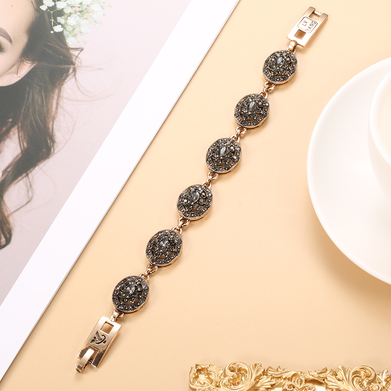 Kinel Charm Boho Women Link Bracelet Antique Gold Color Gray Crystal Ethnic Wedding Bridal Vintage Jewelry Russia Accessories