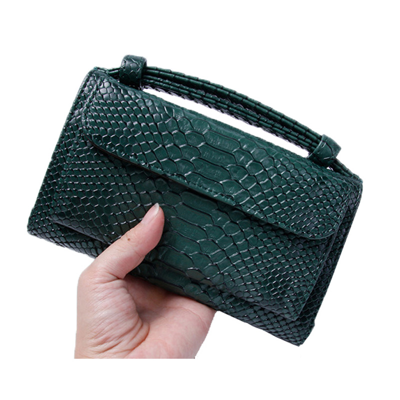 Party Women Snake Leather Bag Real Photos Green Python Wallet Chain Clutch Shoulder Bag Sac A Main