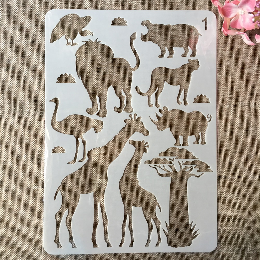 29cm A4 Lion Animals Giraffe DIY Craft Layering Stencils Painting Scrapbooking Stamping Embossing Album Paper Card Template