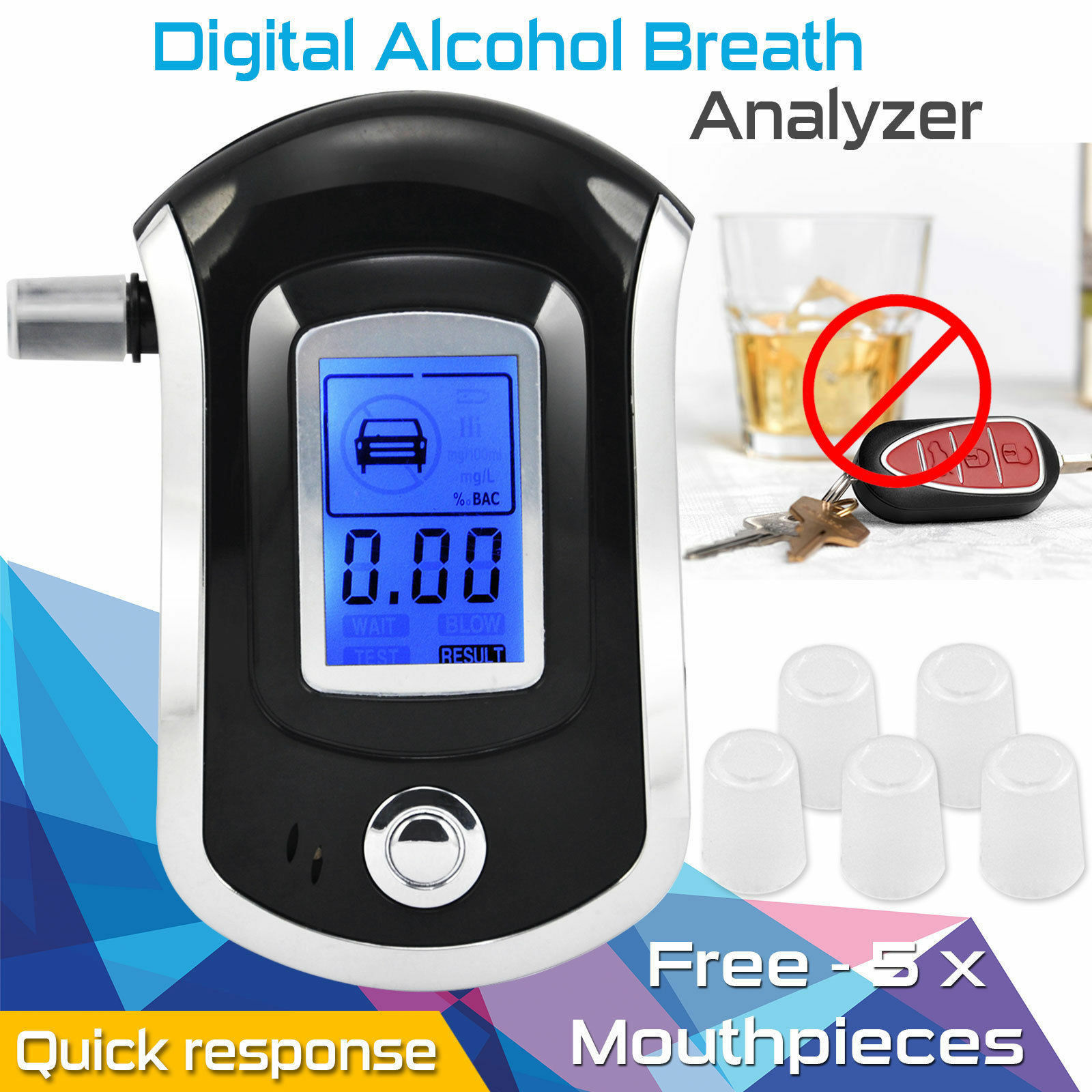 New Police Breath Alcohol Tester Self Digital Analyzer Detector Breathalyser