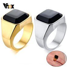 Vnox degli uomini Alla Moda Con Sigillo Mignolo Anello In Oro e Toni In Acciaio Inox Nero di Pietra anel masculino Maschio Accessorio