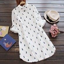 Harajuku-Dresses Turn-Down-Collar Loose-Button Long-Sleeve Print Vintage Plus-Size Womens
