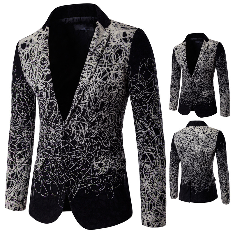 Aowofs 2019 Boutique MEN'S Suit-Style Flower-Shaped Occident Fashion Single Breasted Men's Casual Suit D060