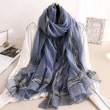 Haute qualité Foulard en soie pour les femmes solide Foulard cou Hijab foulards hiver Pashmina châles dame enveloppe chaud Bufanda
