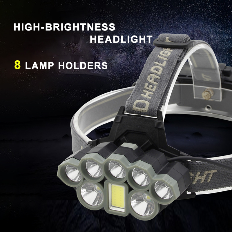 8LED Headlight Glare 2T6+1COB+5Q5 Lights For Headlamp Waterproof Fishing Head Lamp By USB Charging Multifunctional Head Light