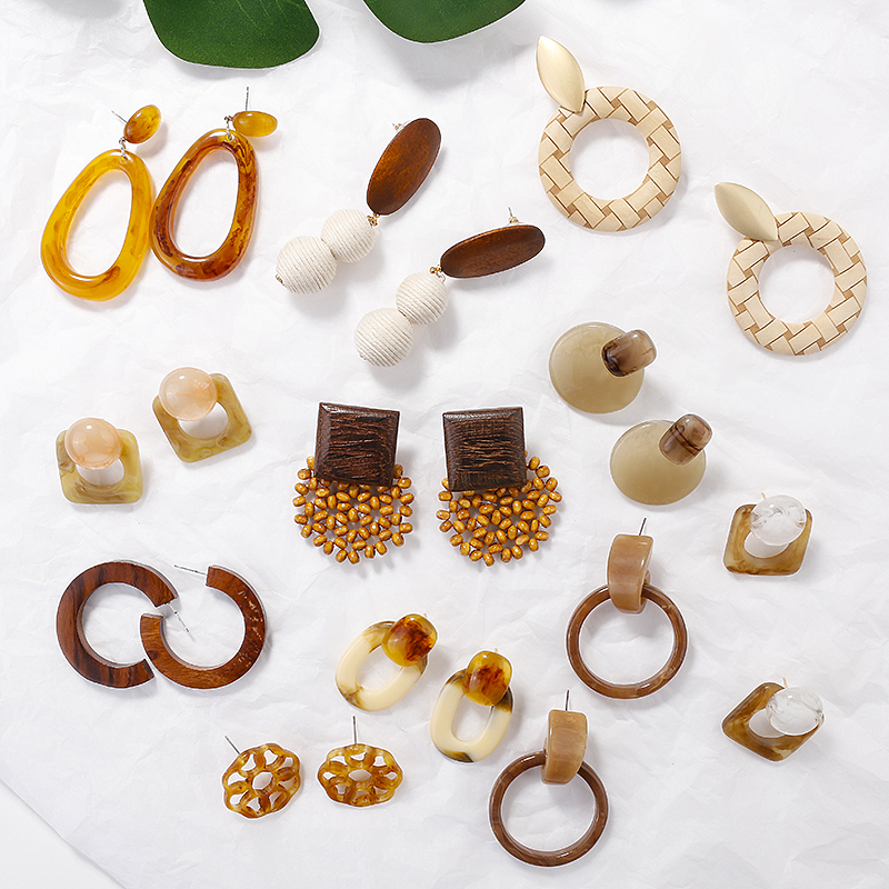 AENSOA Handmade Acrylic / Wooden Acetic-acid Geometric Drop Earrings For Women 2019 Fashion Hot Sale Earrings Party Jewelry