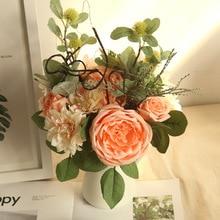 4 Colors Silk Rose Dahlia Hybrid Artificial Flower Bridal Bouquet Wedding Decoration DIY Home Party Fake Flowers 4colors silk peony rose hybrid bouquet artificial flower bridal bouquet wedding decoration diy home party
