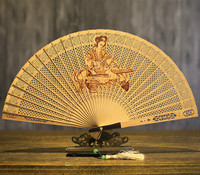 Suzhou Wenwan Sandalwood Fan Arts And Crafts Folding Fan Sandalwood Fan In National Customs Hollow Out Classical