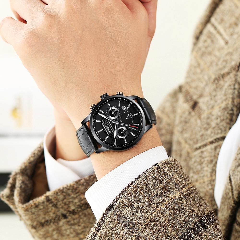 CRRJU, nuevos relojes de moda para hombre, relojes de pulsera analógicos de cuarzo, cronógrafo resistente al agua de 30M, reloj deportivo con fecha Relojes De Correa De Cuero para hombre 14