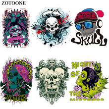 ZOTOONE Cool Punk Skull Patches for Clothing DIY Heat Transfer Printed Sticker Jeans Press Appliqued Decoration Iron on Patch E