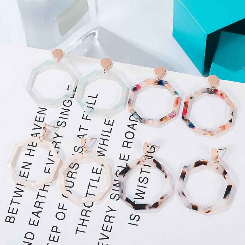 Fashion Geometric Acrylic Drop Earrings For Women Vintage Statement Resin Oval Round Dangle Earring 2020 Brincos Wedding Jewelry