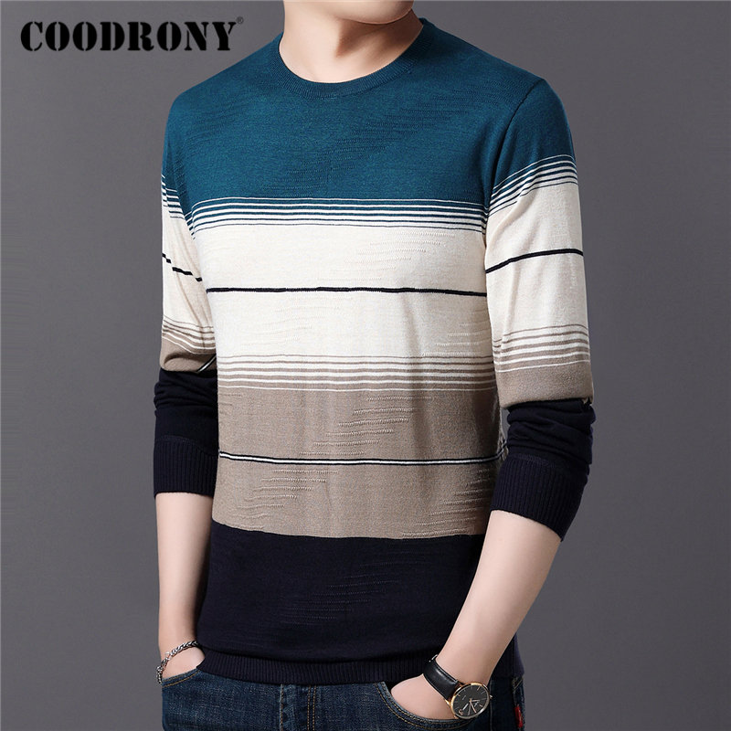 COODRONY Brand Sweater Men Casual O neck Pull Homme Cotton Wool Pullover Men Autumn Winter Fashion Striped Jumper Sweaters 91082 in Pullovers from Men 39 s Clothing