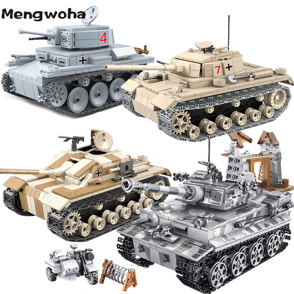 Germany Army Tank Building Blocks Fit WW2 Military Tiger Tank Panzer Soldier Figure Weapon Brick For Chidren Boy Gift