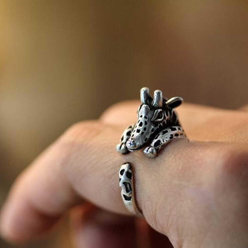 1PC Antike Vintage Mini Giraffe Einstellbare Ring Tier Open Finger Ring Geschenk Für Männer Mode Schmuck