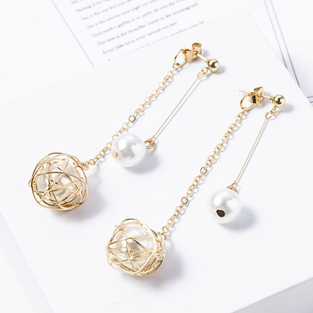 Simulated-pearl Twine Metal Ball Dangle Earrings for Women Gold Korean Long Drop Dangle Earring Wedding Jewelry Gifts New Hot ukebay new tassel long pearl earring drop earrings korean style boho jewelry for statement women earrings wedding gifts jewelry