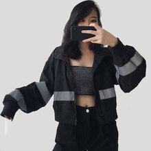 2020 Spring Harajuku Streetwear Coat BF High Waist Short Black Crop Top Reflective Zipper Loose Carg