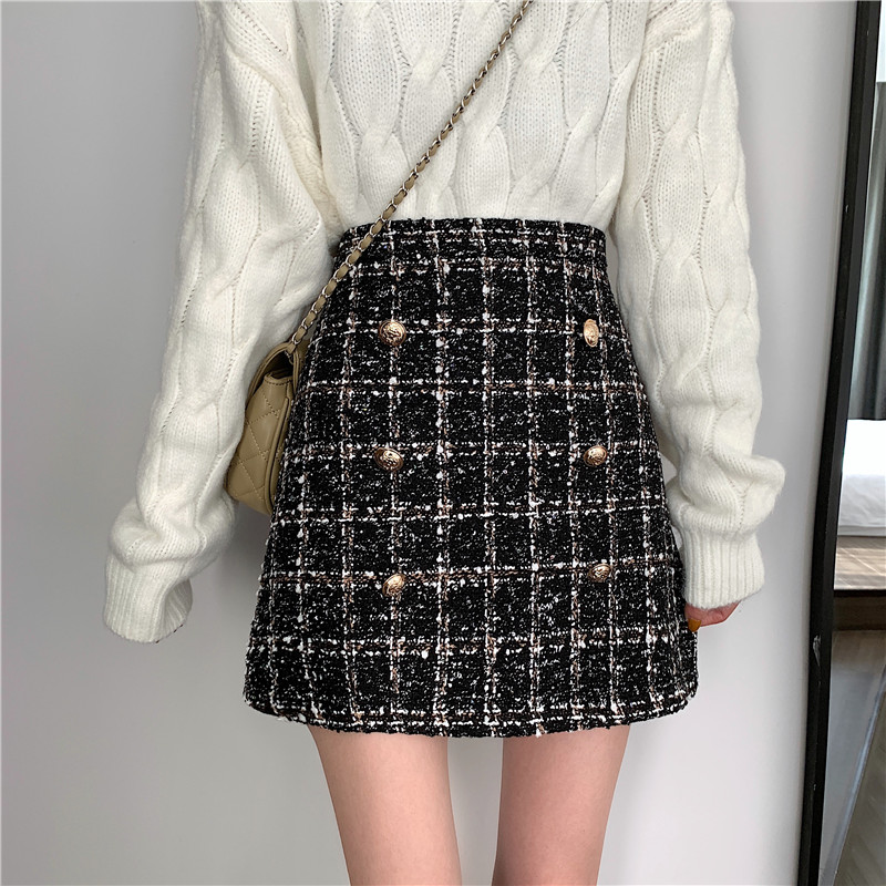 Tweed Half-length Skirt For Women In Autumn Spring 2019 New Korean White Black Chic Short Skirt With High Waistband And Hip