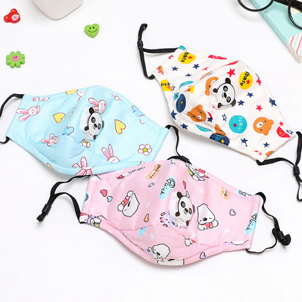 1Pcs PM2.5 Children Mouth Mask Respiratory Valve Cartoon Panda Thicken Smog Mask Warm Dust Mask Fits 2-15 Years Old Kids