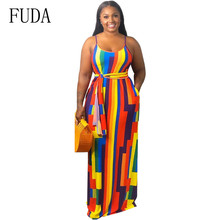 FUDA New Fashion Tie-dye Colorful Print Loose Pockets Dress Summer Sexy Sleeveless Hollow Out Maxi Dress Retro Night Party Dress недорого