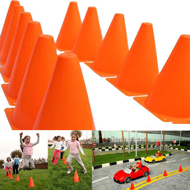 Hot Sale 12Pcs 18cm Dazzling Toys Traffic Orange Cones Marker Course Football Riding Excercise Supplies