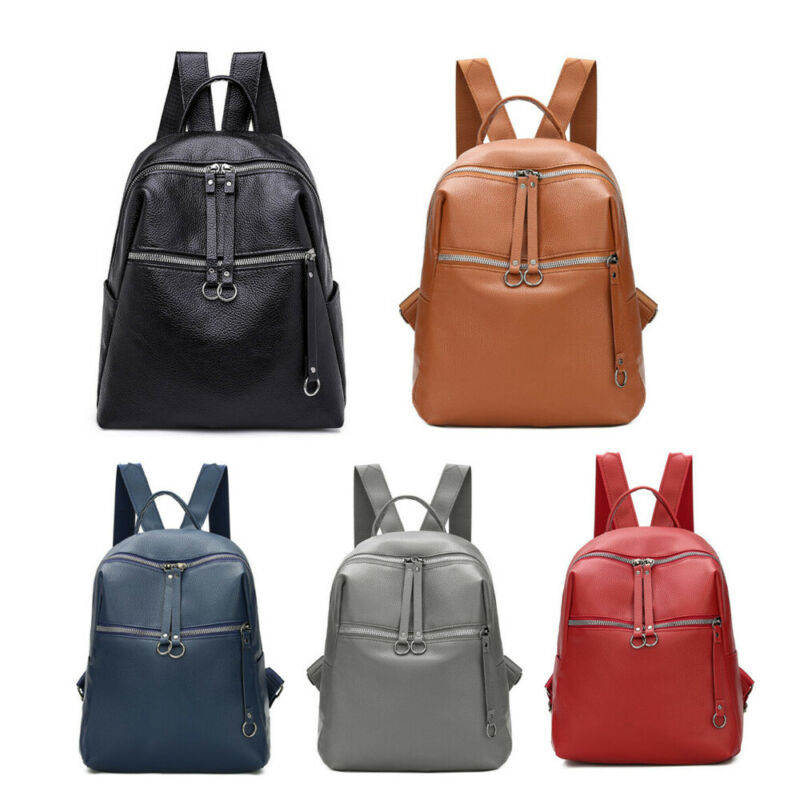 Fashion Women Girl Small Leather Backpack Student School Travel Solid Nylon Bag