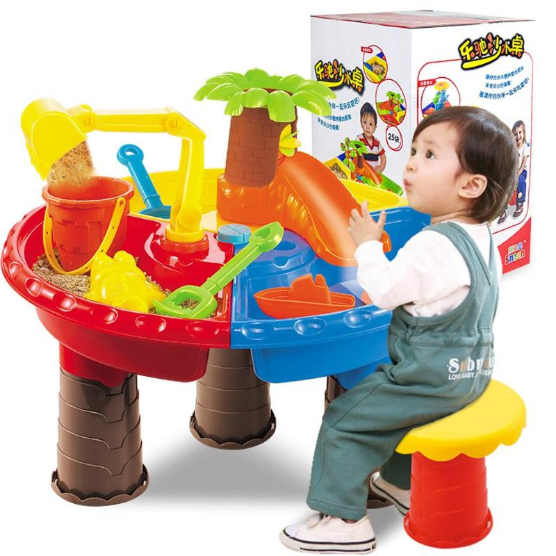 1set Kids Summer Outdoor Beach Sandpit Toy Sand Bucket Water Wheel Table Toys Play Children Learning Education Toy Birthday Gift