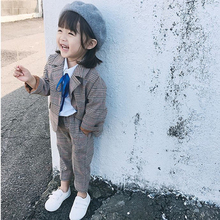 2019 Baby Spring Autumn Clothes For Children Clothing Set Long Sleeve Plaid Jacket+pants 2pieces Kids Tracksuit Girls Set Suit цены онлайн