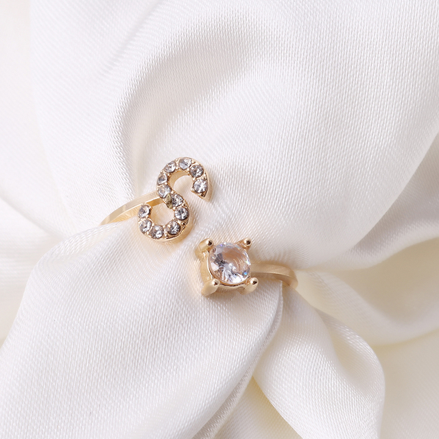 Unisexe couleur or A-Z 26 lettres nom Initial anneaux géométrique alliage avec strass ouvert manchette bagues bijoux de fiançailles