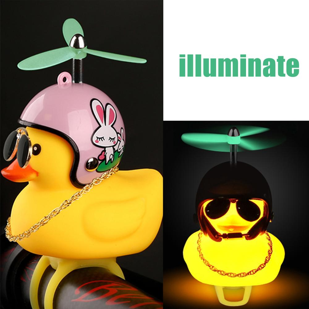 Standing Duck with Helmet Broken Wind Small Yellow Duck Road Bike Motor Helmet Cycling Accessories With Luminous/Normal Airscrew(China)