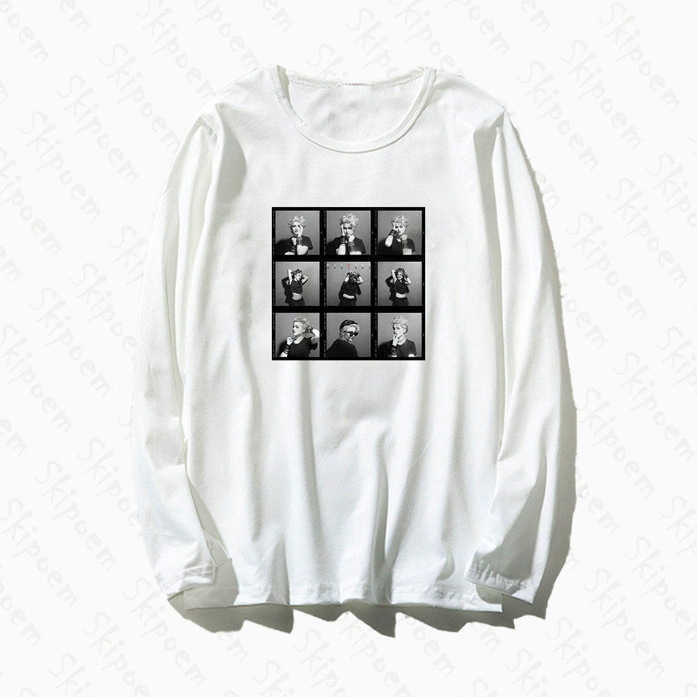 <font><b>Sexy</b></font> Goddess Madonna T <font><b>Shirt</b></font> <font><b>Women</b></font> Harajuku <font><b>Gothic</b></font> Tumblr Aesthetic Punk Kawaii Cotton Plus Size Long Sleeve Clothes Top Tees image