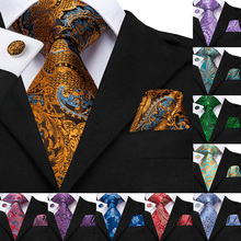 Hi-Tie 100% Silk Luxury Brand Designer Paisley Ties for Men Black Gold Neck Tie Pocket Squre Cufflinks Set Mens