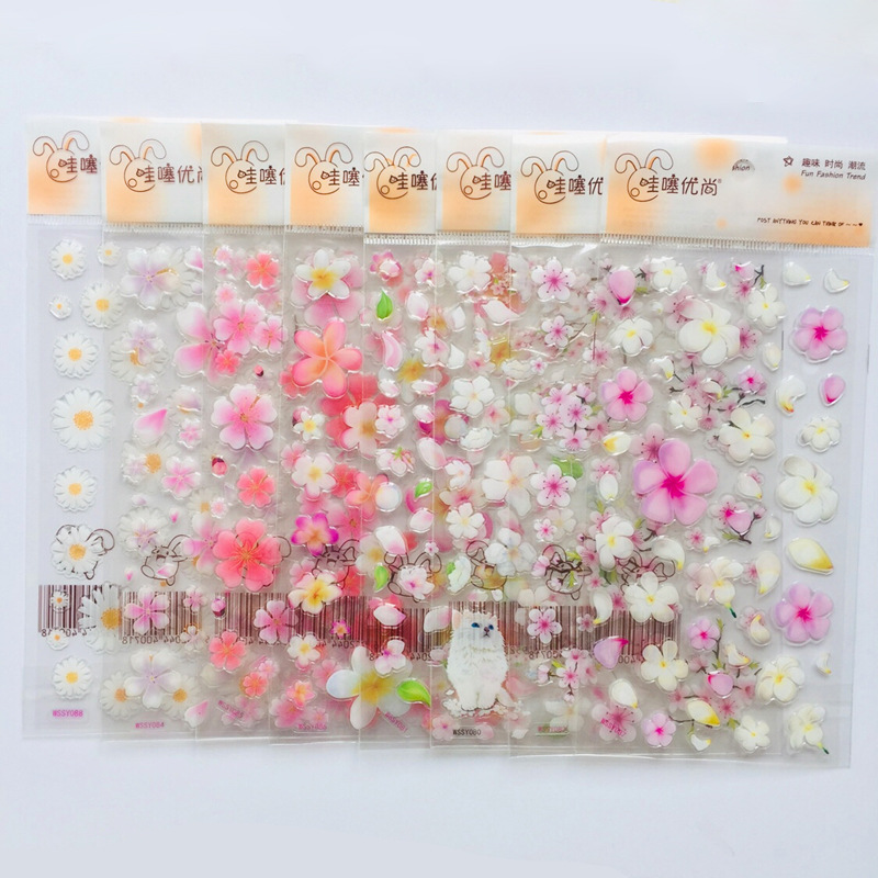 1 Sheet Cute Romantic Flowers Daisy  Sakura Crystal DIY Stickers Decorative Scrapbooking Diary Album Stick Label Student Supply