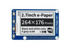 Waveshare 2.7 e 紙、 264 × 176 、 2.7 インチ電子インクディスプレイ帽子ラズベリーパイ 2B/3B/ゼロ/ゼロワット、色: 黒、白、 SPI インタフェース