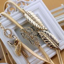 Odzież damska akcesoria do spódnic elastyczny pasek wszywany damski metalowy elastyczny pasek na liście kwiatowy tanie tanio Deepeel Dla dorosłych WOMEN 0 9cm Moda Floral BL006 gold silver alloy hook up Rhinestone inlay