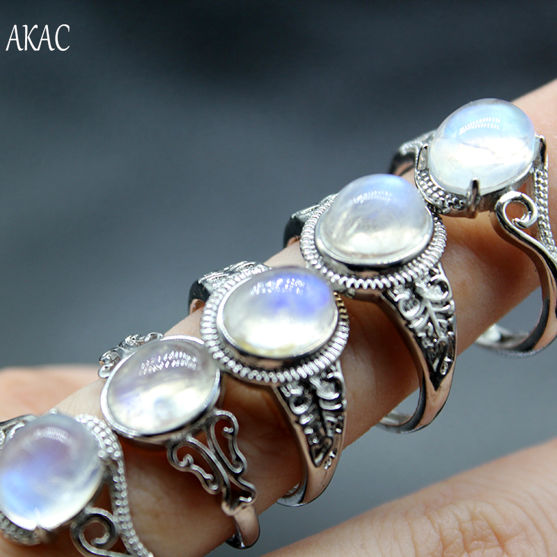 2rings/set Approx7 9*9 11mm AKAC natural A  rainbow moonstone 