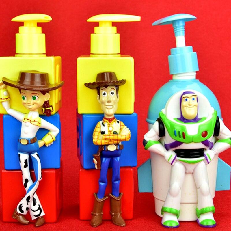 Disney Toy Story Woody Buzz Lightyear Jessie botella creativa de champú de dibujos animados ABS figura de acción juguete de modelos coleccionables caja 350ML