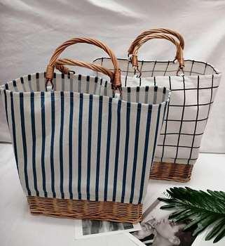 Striped canvas straw bag Large-capacity rattan bag portable woven Bucket  handbag Woman large shopping bag Summer Wicker Basket 3